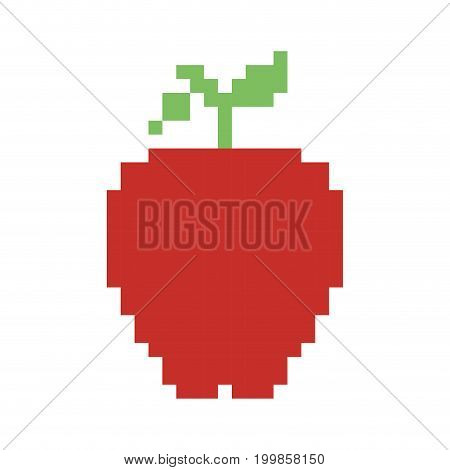 colorful pixelated apple fruit food vector illustration