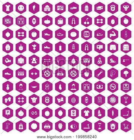 100 gym icons set in violet hexagon isolated vector illustration