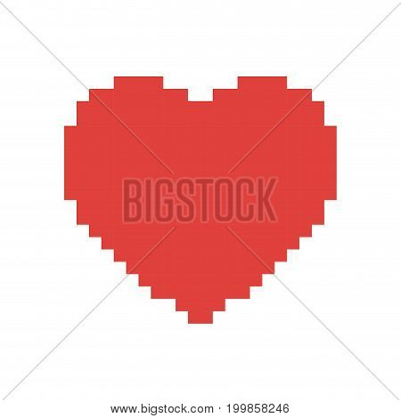 colorful pixelated heart shape in red color vector illustration