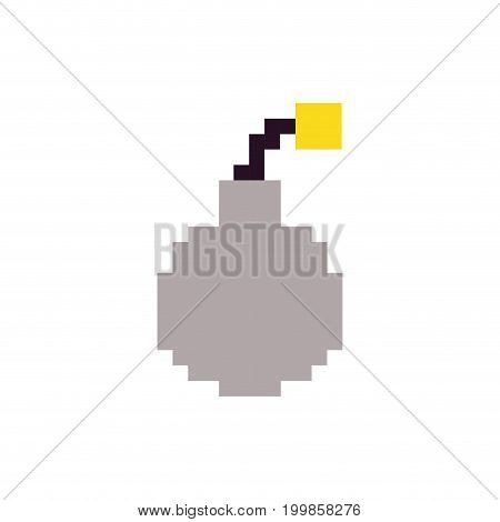 colorful pixelated bomb ready to explode vector illustration