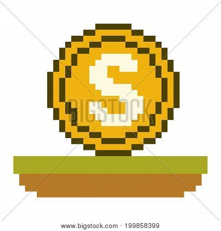 colorful pixelated coin with money symbol over grass vector illustration