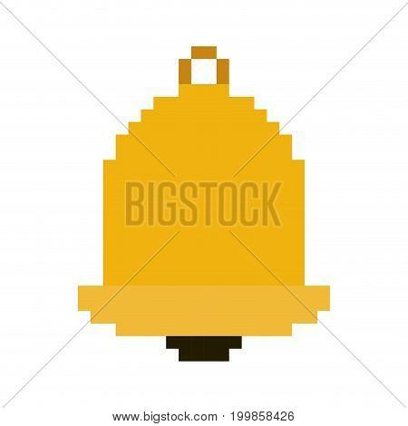 colorful pixelated golden bell element vector illustration
