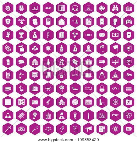 100 hacking icons set in violet hexagon isolated vector illustration