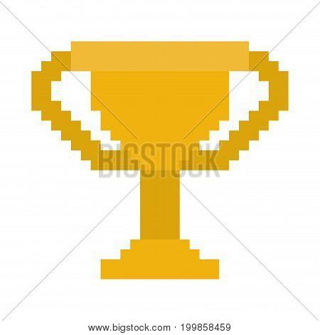 colorful pixelated golden trophy element vector illustration