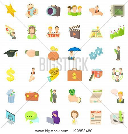 Career icons set. Cartoon style of 36 career vector icons for web isolated on white background