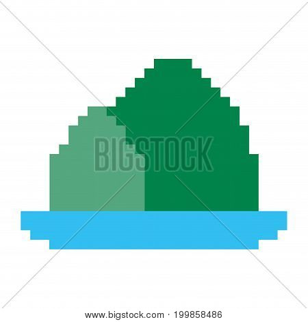 colorful pixelated mountains and river landscape vector illustration