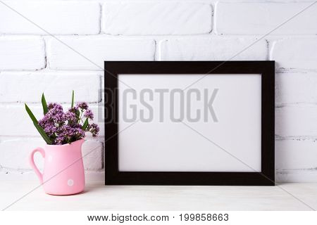 Black Brown  Landscape Frame Mockup With Purple Flowers In Pink Rustic Pitcher