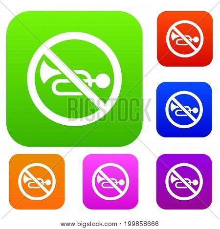 No horn traffic sign set icon in different colors isolated vector illustration. Premium collection