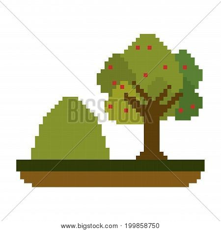 colorful pixelated tree and mountain landscape vector illustration