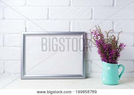 Silver Landscape Frame Mockup With Maroon Purple Flowers In Mint Pitcher