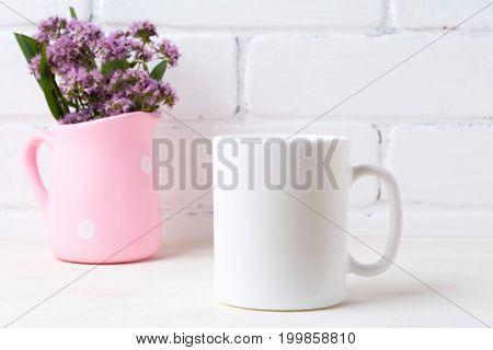 White Coffee Mug Mockup With Purple Flowers In Polka Dot Pink Pitcher