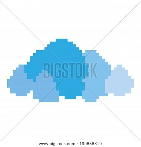colorful pixelated cumulus of blue clouds vector illustration