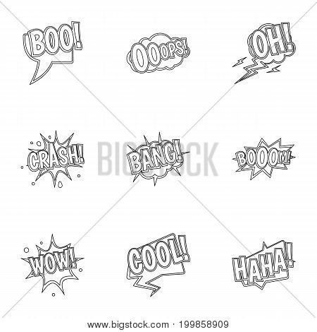 Trendy text icons set. Outline set of 9 trendy text vector icons for web isolated on white background