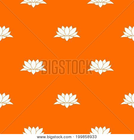 Lotus flower pattern repeat seamless in orange color for any design. Vector geometric illustration
