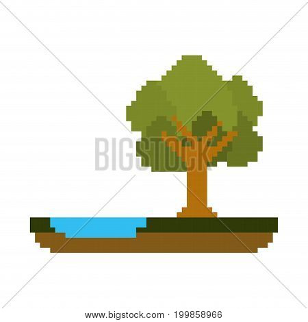 colorful pixelated forest landscape in meadow with tree next to the river vector illustration
