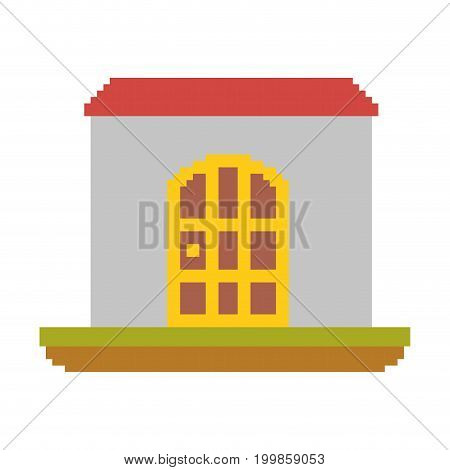colorful pixelated house in meadow vector illustration