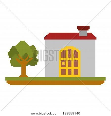 colorful pixelated house in meadow with tree vector illustration