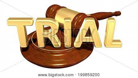 Trial Law Concept 3D Illustration