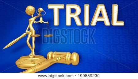 Trial Law Concept Lady Justice The Original 3D Character Illustration