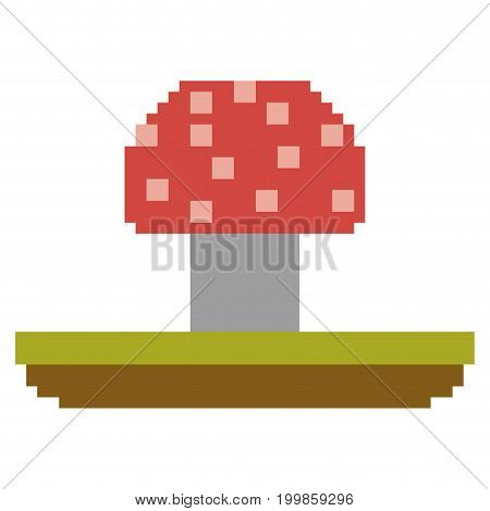colorful pixelated mushroom in meadow vector illustration