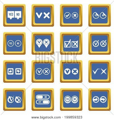Check mark icons set in blue color isolated vector illustration for web and any design