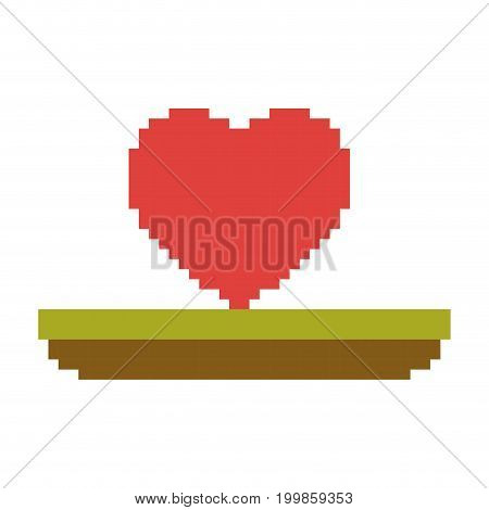 colorful pixelated heart in meadow vector illustration