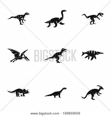 Dinosaur icons set. Simple set of 9 dinosaur vector icons for web isolated on white background