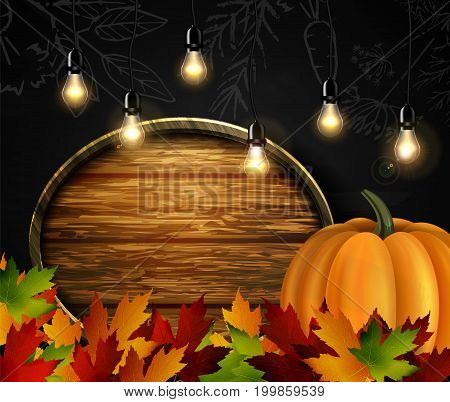 Chalkboard with autumn leaves cozy patio lights and orange pumpkin and wooden board for your message vector
