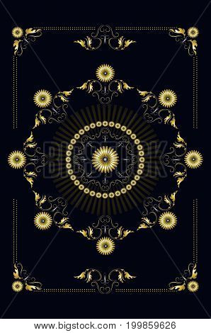 Frame from gold ornamental pattern with of leaves with stars and back light on black background