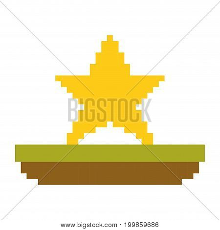 colorful pixelated yellow star in meadow vector illustration