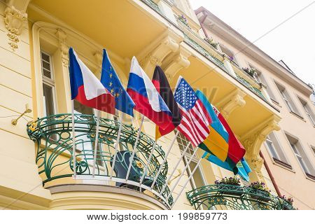Flags of the World in front of a Buiding.
