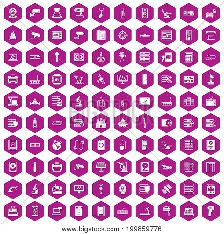 100 hardware icons set in violet hexagon isolated vector illustration
