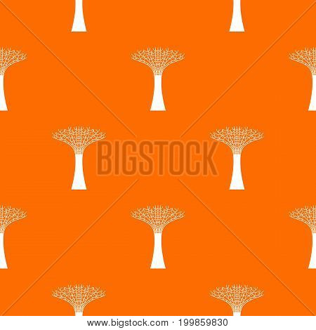 Singapore Supertree at the Gardens By The Bay pattern repeat seamless in orange color for any design. Vector geometric illustration