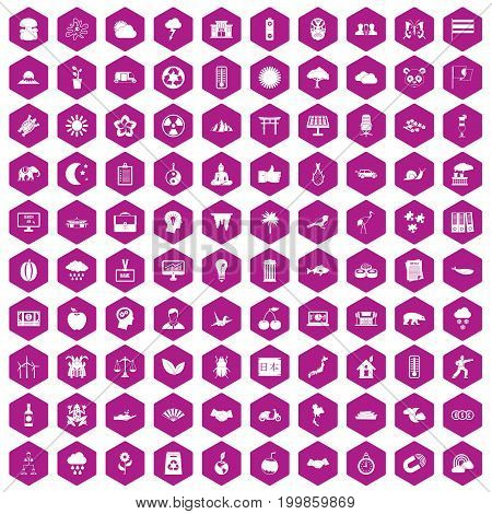 100 harmony icons set in violet hexagon isolated vector illustration