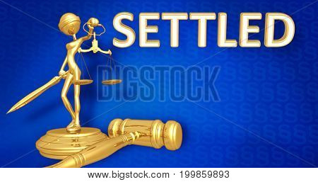 Settled Legal Concept Lady Justice The Original 3D Character Illustration