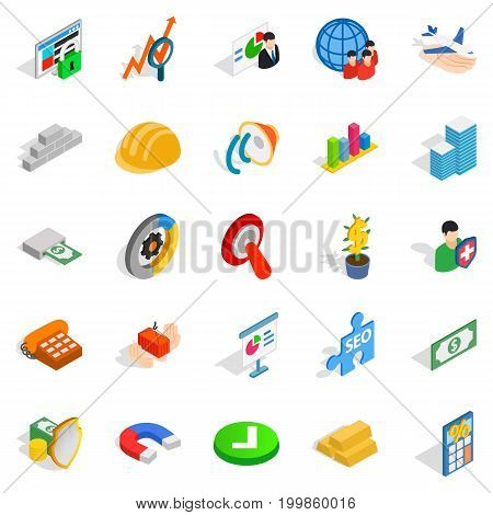 Rating icons set. Isometric set of 25 rating vector icons for web isolated on white background