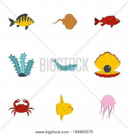 Underwater fauna icons set. Flat set of 9 underwater fauna vector icons for web isolated on white background