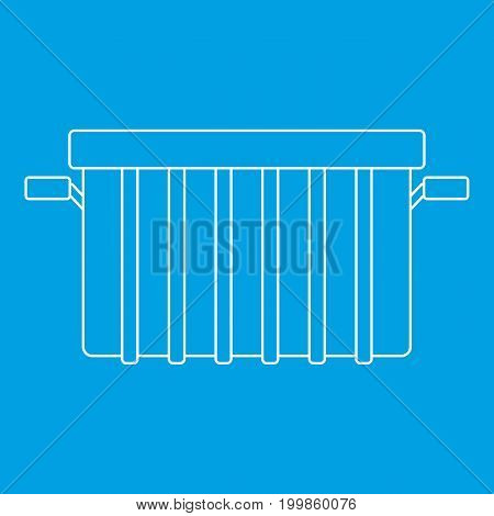 Garbage can icon blue outline style isolated vector illustration. Thin line sign