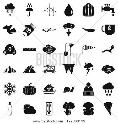 Cloud icons set. Simple style of 36 cloud vector icons for web isolated on white background