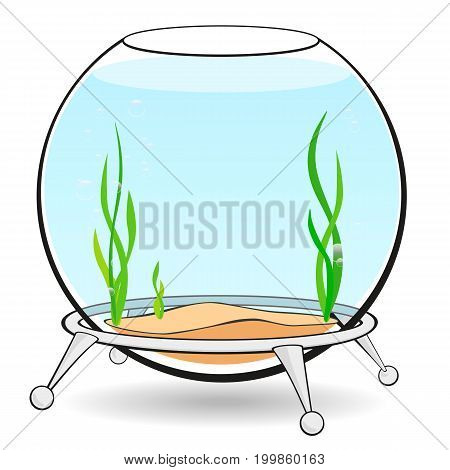 Fishbowl for fish with blue water, algae and bubbles on the stand. Aquarium on a white background. Cartoon illustration.