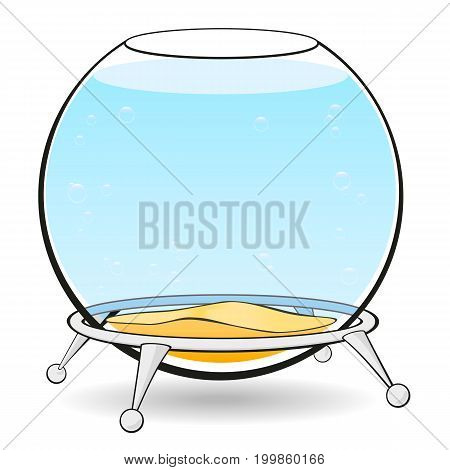 Aquarium on a white background. Round aquarium for fish with blue water and bubbles on the stand.