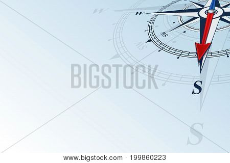 Compass south. Compass with wind rose, the arrow points to the south. Compass on a blue background. Compass illustrations can be used as background. Flat background with copy space place.