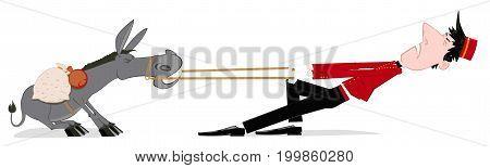Porter pulls a stubborn donkey. Bellboy Hotel Porter Profession. Illustration on white background. Isolated illustration.