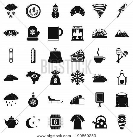 Coffee cup icons set. Simple style of 36 coffee cup vector icons for web isolated on white background
