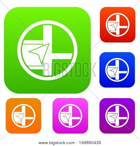 Map navigation set icon in different colors isolated vector illustration. Premium collection