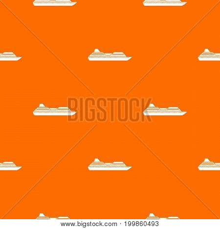 Cruise liner pattern repeat seamless in orange color for any design. Vector geometric illustration