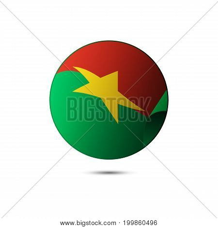 Burkina Faso flag button with shadow on a white background. Vector illustration.