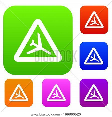 Warning sign of low flying aircraft set icon in different colors isolated vector illustration. Premium collection