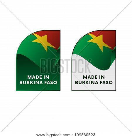 Stickers Made in Burkina Faso. Vector illustration.