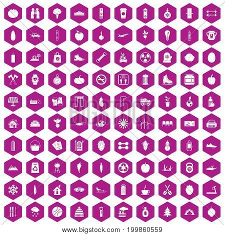 100 healthy lifestyle icons set in violet hexagon isolated vector illustration